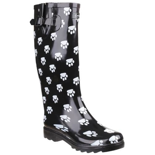 Cotswold Dog Paw Patterned Wellingtons Black / White